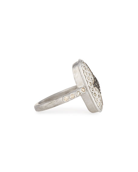 New World Rectangular Pave Crivelli Shield Ring
