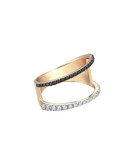 Zebra Black & White Diamond Ring in 14K Rose Gold, Size 7