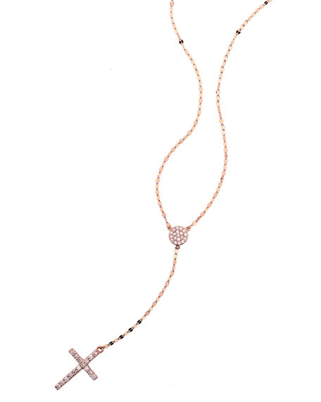 Femme Fatale Diamond Cross Lariat Necklace in 14K Rose Gold