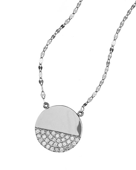 Lana Jewelry Flawless Illusion Disc Pendant Necklace in 14K White Gold RjMoR