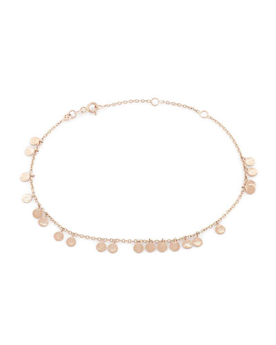 Beads Dangling Circles Anklet in 14K Gold