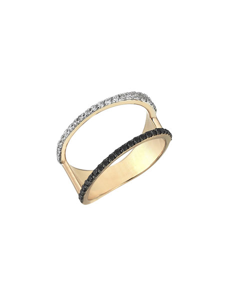 Zebra Black & White Diamond Ring in 14K Rose Gold, Size 7