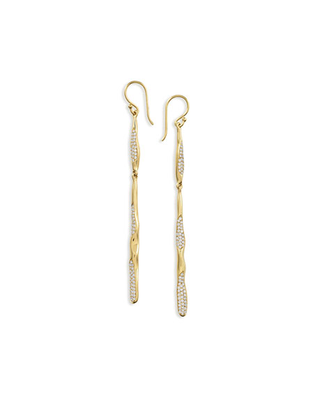 18K Glamazon Skinny Stick Earrings with Diamonds