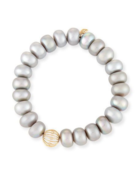 Sydney Evan 10mm Gray Pearl Button Bracelet with