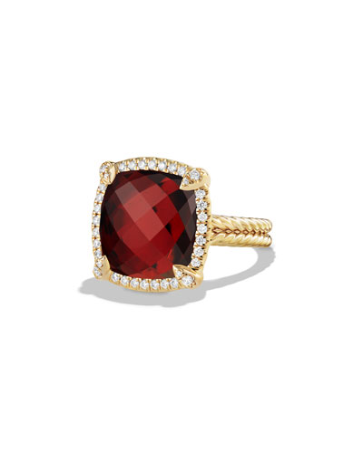 Châtelaine Faceted Garnet Ring with Diamonds in 18K Yellow Gold