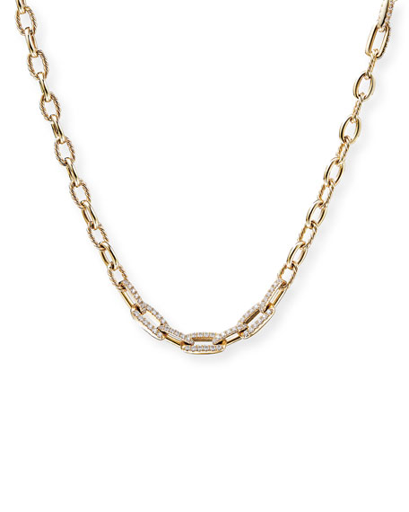 David Yurman Stax Convertible Chain Necklace/Bracelet with Diamonds in 18K Yellow Gold