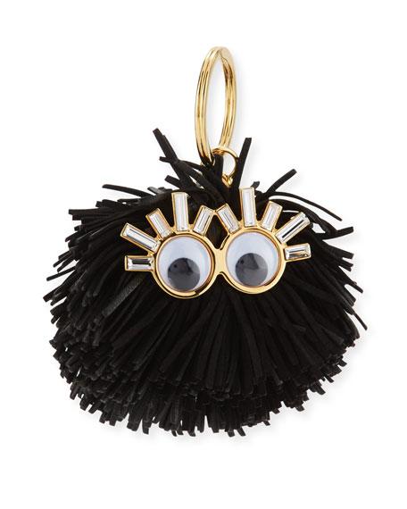 Leonard Pompom Key Ring, Black