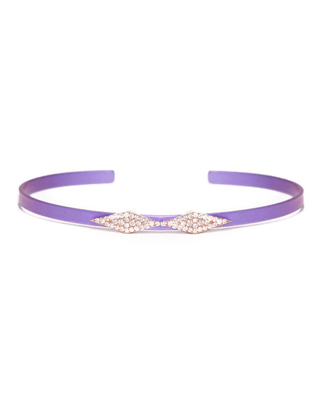Cosmos Double-Heartbeat Titanium Bracelet with Diamonds, Purple