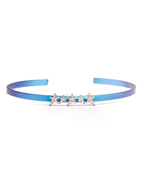 Cosmos Star-Row Titanium Bracelet with Diamonds, Blue