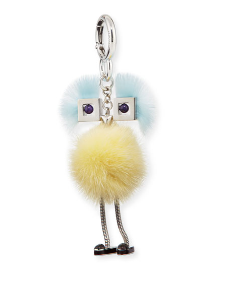 Chick Mink-Fur Bag Charm, Yellow/Light Blue