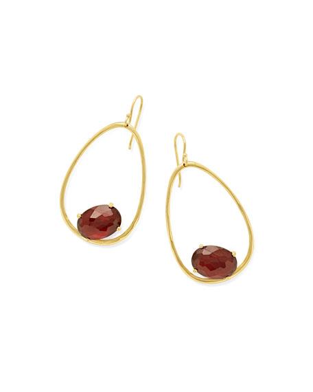 Ippolita 18K Rock Candy Tipped Oval Wire Earrings in Garnet