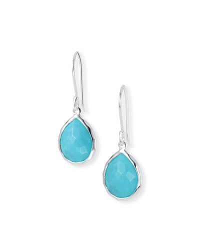 Sterling Silver Teeny Teardrop Earrings in Turquoise