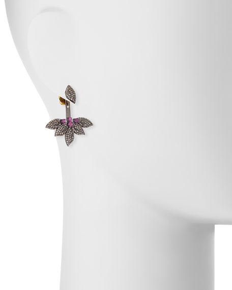 Diamond & Ruby Flower Jacket Earrings