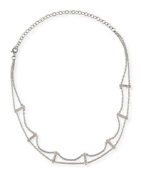 Two-Strand Diamond Bar Choker Necklace, 15""