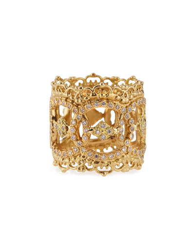 18k Yellow Gold Open Scalloped Crivelli Ring with Diamonds