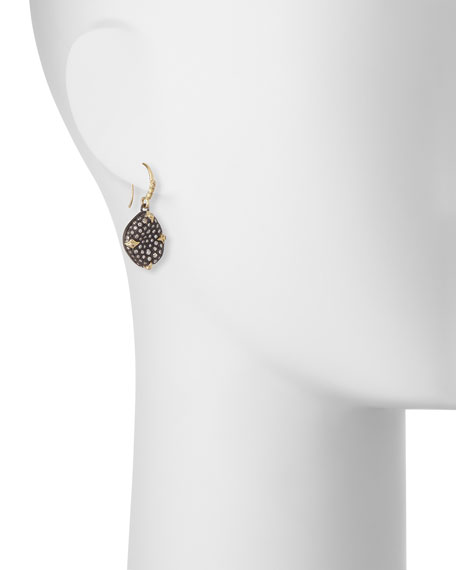 Old World Blackened Bean Drop Earrings with Diamonds