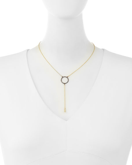 Old World Open Diamond Circle Lariat Necklace
