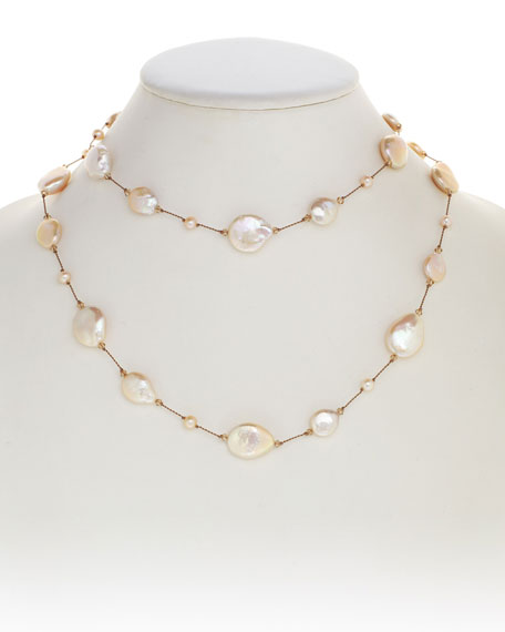 "Multicolor Coin Pearl Necklace, 35""L"
