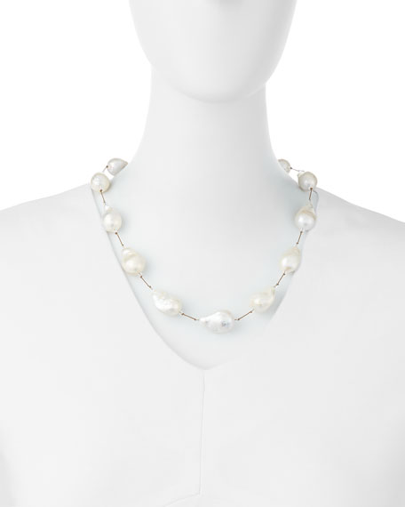 "Large Baroque Pearl Necklace, 20""L"