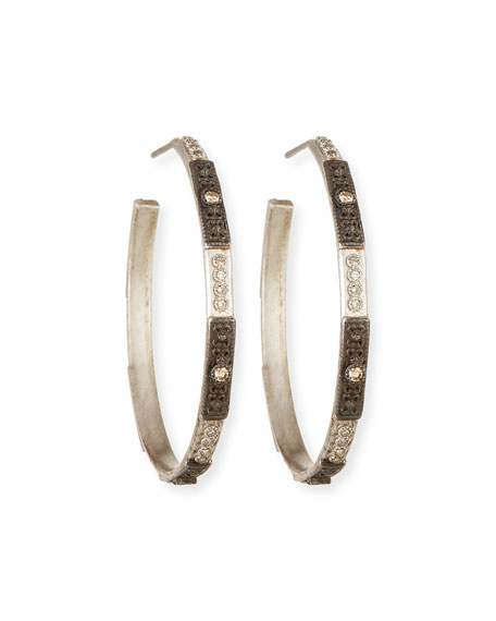 Armenta New World Two-Tone Hoop Earrings with Champagne