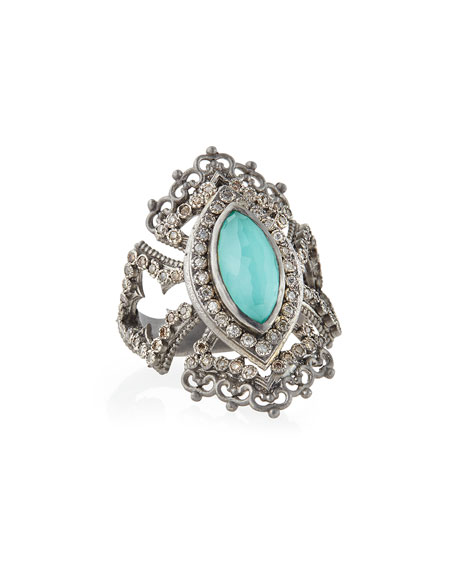 Armenta Scalloped Green Turquoise & Diamond Ring