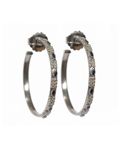 New World Marquis Sapphire & Diamond Hoop Earrings