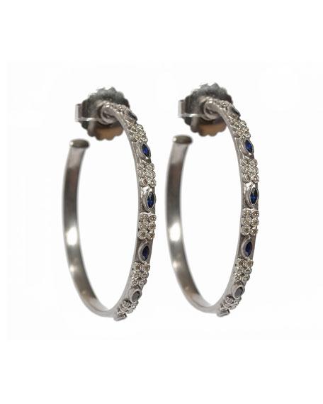 New World Marquis Sapphire & Diamond Hoop Earrings