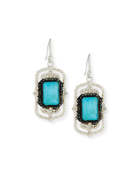Armenta New World Rectangle Turquoise & Quartz Doublet