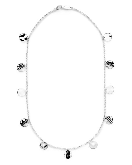 Senso Disc Paillette Necklace with Diamonds, 18""