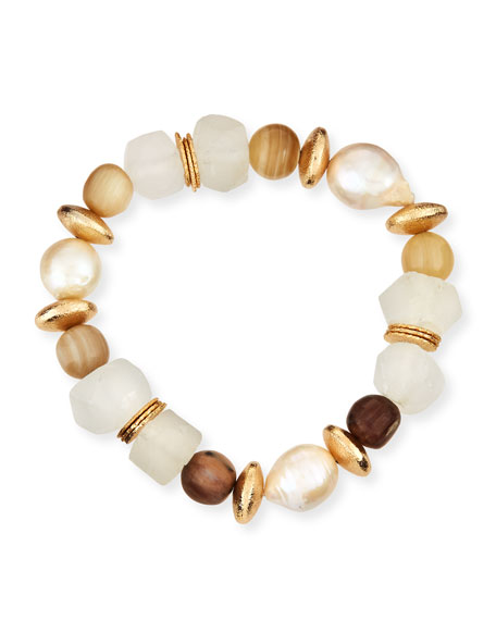 Akola Pearl/Glass Beaded Bracelet, Neutral