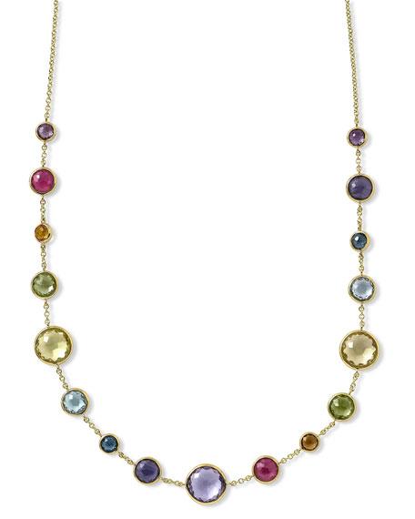 18K Yellow Gold Lollipop Lollitini Clear Quartz, Mother Of Pearl, Green Gold Citrine, Peridot, Green, Multi