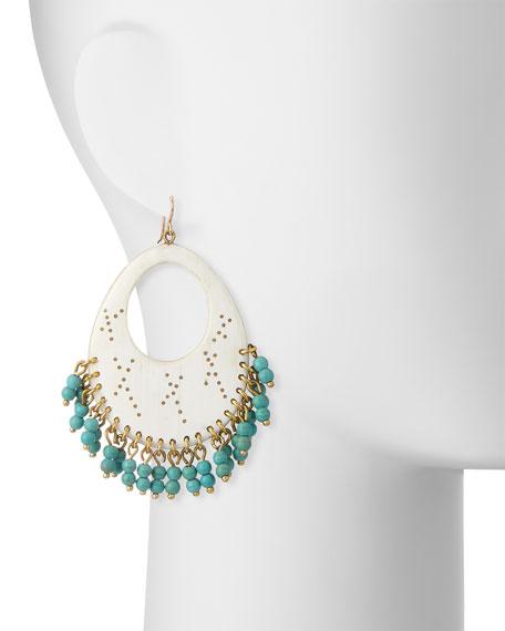 Vuka Turquoise Beaded Earrings, Light Horn