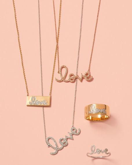 Pave Diamond Love Ring, Size 6.5