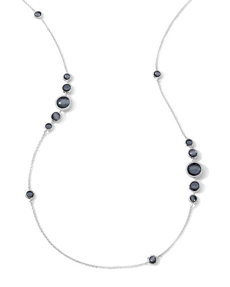 Stella Silver Station Necklace in Hematite & Diamonds, 37""
