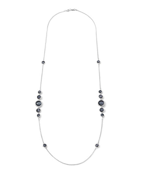 Ippolita Stella Silver Station Necklace in Hematite &