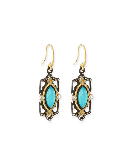 Armenta Blue Turquoise Scroll Drop Earrings