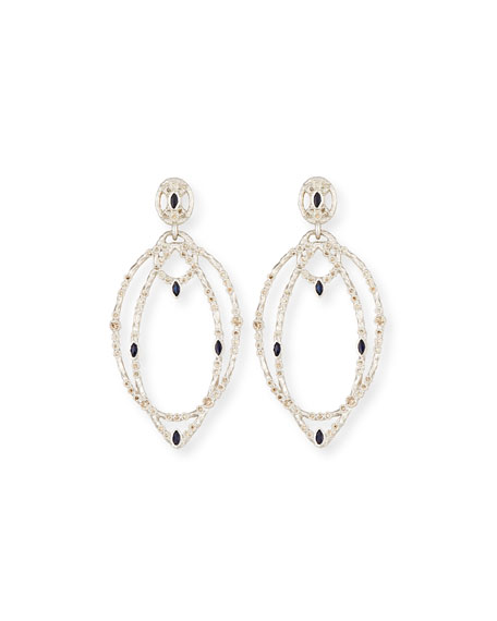 New World Double-Hoop Earrings with Champagne Diamonds