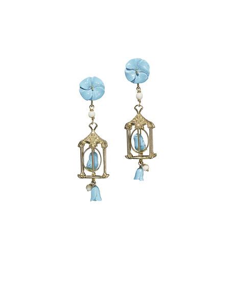 OF RARE ORIGIN Pagoda Turquoise Drop Earrings in Blue