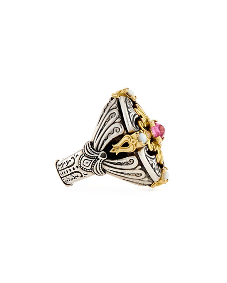 Ornate Mother-of-Pearl Ring with Crystal Quartz Over Pink Sapphire & Tourmaline