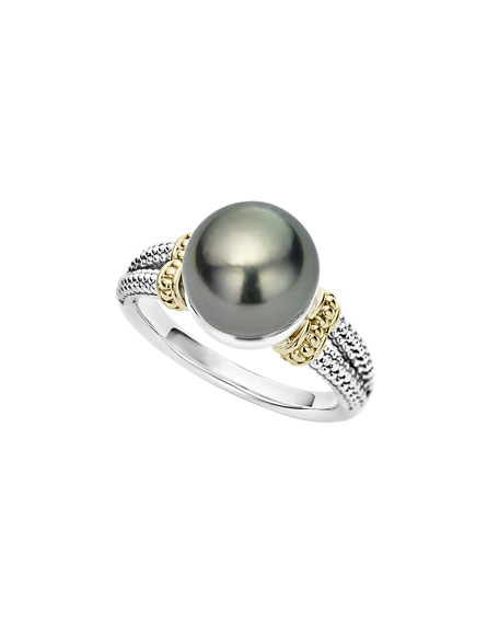 Lagos Luna Small Tahitian Pearl Button Ring