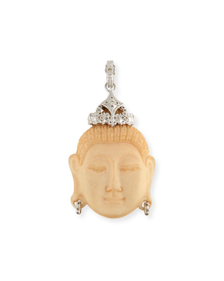 New World Carved Buddha Enhancer with Champagne Diamonds