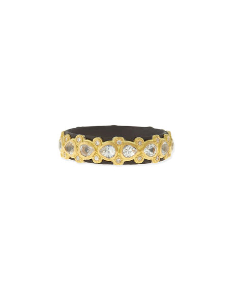 18K Yellow Gold And Blackened Sterling Silver Old World Diamond And White Sapphire Stacking Ring