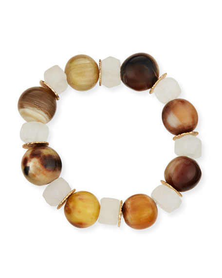 Akola Alternating Horn & Java Glass Bracelet