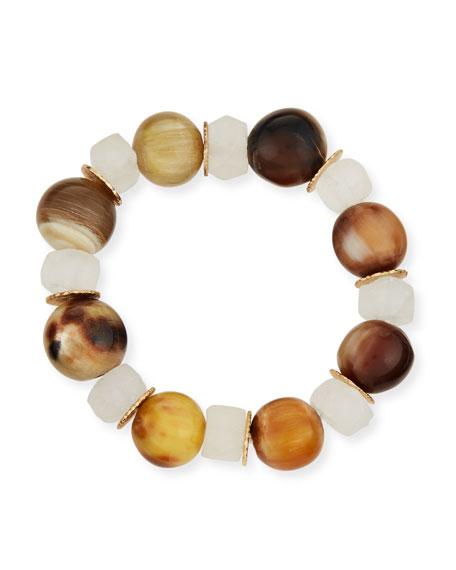 Akola Alternating Horn & Java Glass Bracelet