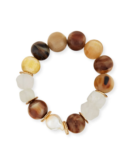 Akola Horn, Pearl & Java Glass Stretch Bracelet