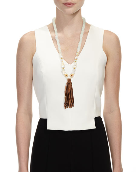 Long Pearl & Java Glass Tassel Necklace