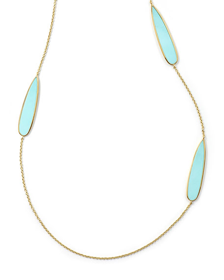 Ippolita 18K Rock Candy Teardrop Scatter Station Necklace in Turquoise, 40