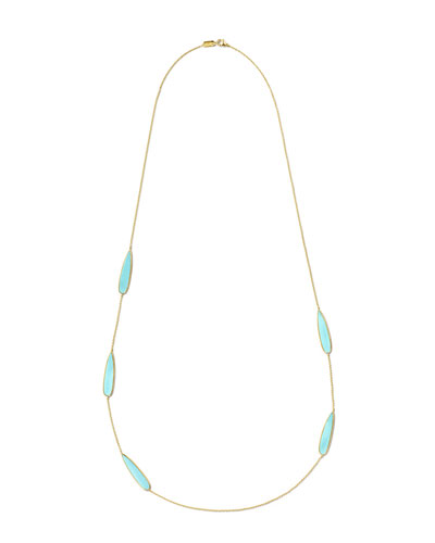18K Rock Candy Teardrop Scatter Station Necklace in Turquoise, 40