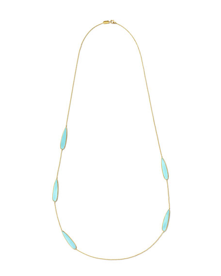 18K Rock Candy Teardrop Scatter Station Necklace in Turquoise, 40""