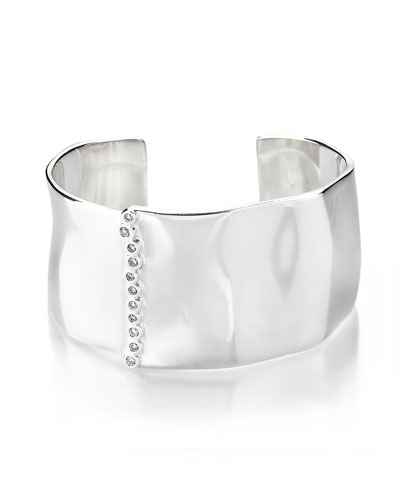 925 Glamazon Wide Uneven Cuff Bracelet w/Diamond Bezels